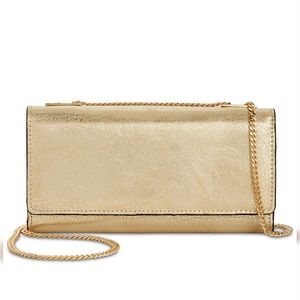 Macy's INC Crossbody Wallet Distressed Gold NWT